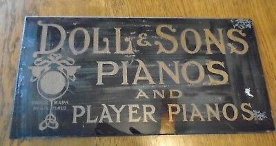 DOLL & SONS Pianos and Player Pianos  Glass Sign  Advertising  1900-1920's