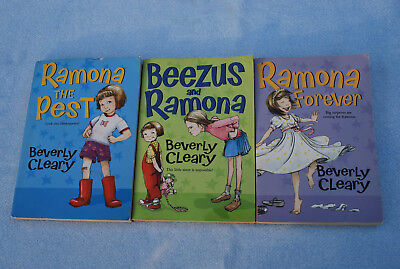 Lot of 3 RAMONA Books by Beverly Cleary - Soft Paperback - Beezus Forever Pest