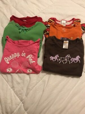 LOT OF 6 GIRL'S  SIZE 5 GYMBOREE CUTE SHIRTS, 4 Long Sleeve 2 Ss