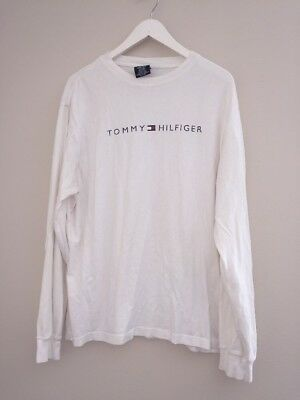 VTG 90s Tommy Hilfiger White Logo Long Sleeve Tee Shirt Mens Large