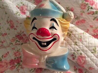 Vintage Clown Coin Piggy Bank Schmid Carnival Theme Circus Decor FREE SHIPPING