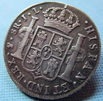 1825 Spain Potosi King Ferdinand VII 8 Reales - Made into a Big Silver Button