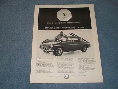 "1966 MGB Convertible Roadster Vintage Ad ""When the Ski Report Says Head....."" MG"