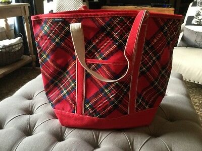 Lands End Large Zip Top Red Tartan Plaid Tote