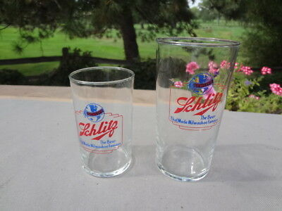 2 Vintage Schlitz Beer Glasses..Blue & Red...The Beer That Made Milwaukee Famous