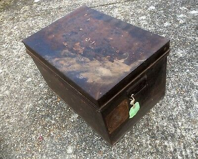 Antique Metal Deed Box,P&O PENINSULAR ORIENTAL STEAM COMPANY Label,Trunk,Case