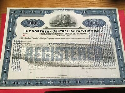 1924 unissued Northern Central Railway Co. $1000 bond