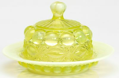 Butterdish - Eyewinker - Vaseline Opalescent Glass - Mosser USA