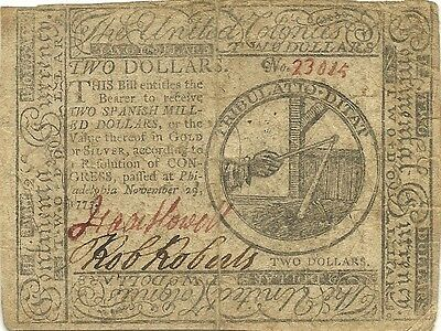 1775 $2 Continental American Revolution Currency Note - Genuine & Nice Grade