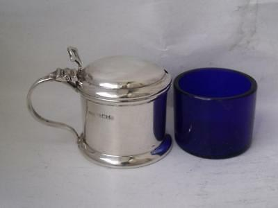 Dainty Solid Sterling Silver Mustard Pot 1928/ L 6.2 cm/ Blue Glass Liner