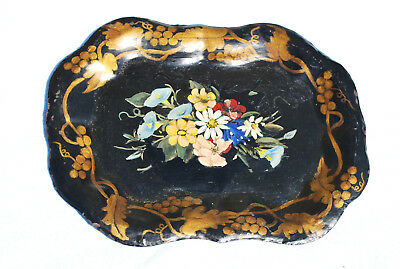 """Vintage Toleware 12"""" x 9 1/2"""" Hand Painted Floral Tin Tray"""