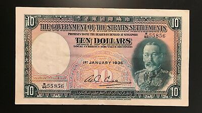 STRAITS SETTLEMENTS 10 DOLLARS GEORGE V 1935. SCARCE THIS NICE! PICK# 18 b