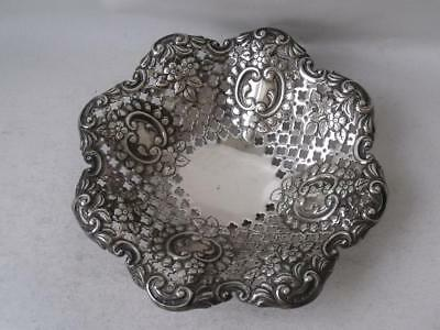 Pretty Antique Pierced Embossed Solid Sterling Silver Dish 1896/ Dia 10 cm