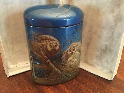 """Stunning Fedoskino Russian Lacquer Box """" Owls Family """" Signed Chirkov Alexey"""
