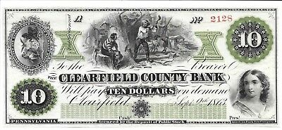 PA, Clearfield.  Clearfield County Bank $10.  About Uncirculated Beauty!  Scarce