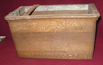 PW WOOD COPPER LINED PULL CHAIN TOILET TANK w/ VALVE, FLOAT, FITTINGS UNRESTORED