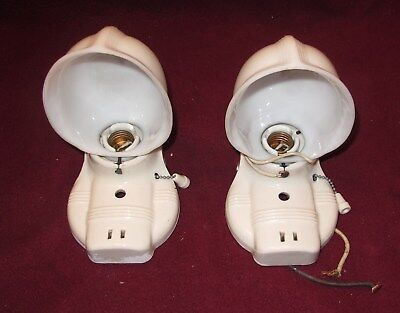 2 VINTAGE Bathroom Porcelain Ceramic Wall Light Fixtures w/Outlet/ Pull Chains
