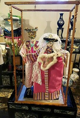 "Beautiful~ Signed? Vintage Antique 28"" Pair Of Chinese Dolls Very Rare~ Look"