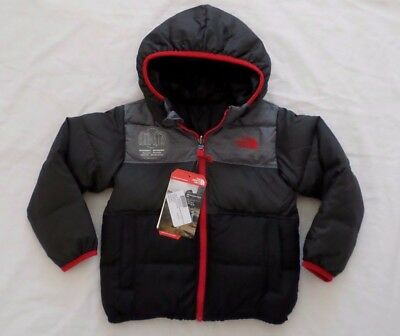 New The North Face Kids Boys Moondoggy Down Hooded Reversible Jacket Toddler 3T