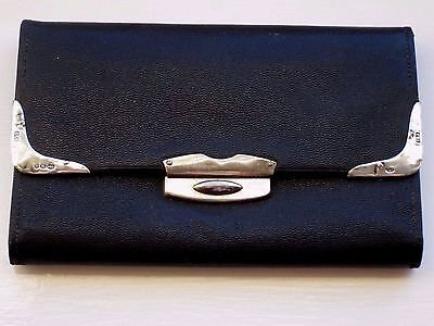 Antique Black Leather Wallet / Silver Mounted Card Case with Diary 1912
