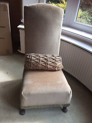 Dusky Pink Velvet High Backed Low Level Chair With Cushion