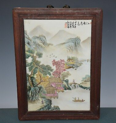 Stunning Chinese Famille Rose Porcelain Plaque Signed Master Wang Yeting Bh9982