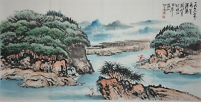 Fine Large Chinese Painting Signed Master Guan Shanyue Rare Yb9781