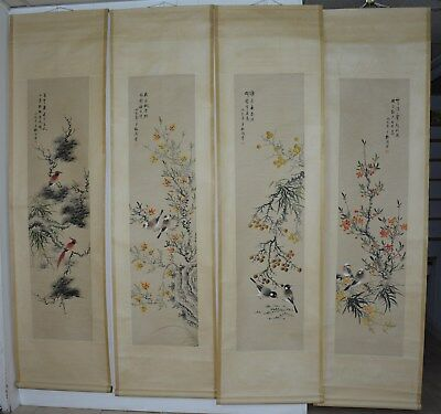 Ultra Rare Set Of 4 Large Chinese Painting Scrolls Signed Master Mei Lanfang Hr8