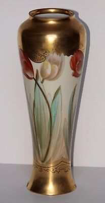 LIMOGES Vase Imported by Pickard China Hand Painted Flowered Vase w Gold Finish