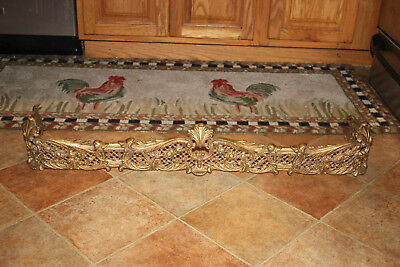 Antique Victorian Art Deco Fireplace Surround Skirt-Gilded Gold Metal Scrolls