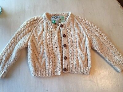 Childs Aran Handknit Horgans Of Blarney England Sweater Pure New Wool