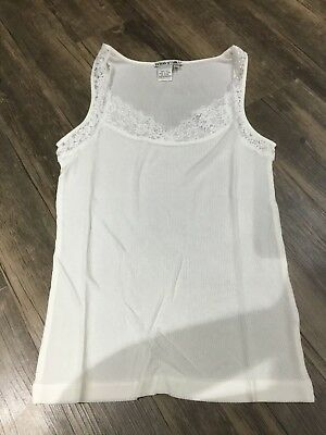 Wintersilks Silk ribbed Tank Top Camisole with Lace Large L cream 4617 new women