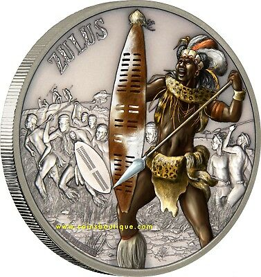 ZULUS-Warriors of History Silver Coin Antiqued Niue 20017