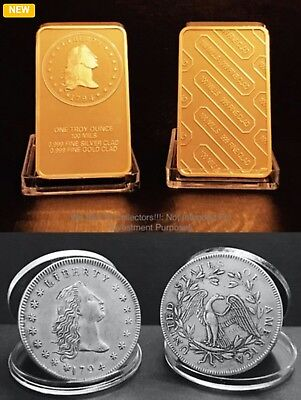 (First Silver Dollar Collection) 24Kt Gold Clad 1794 Flowing Hair Silver Dollar