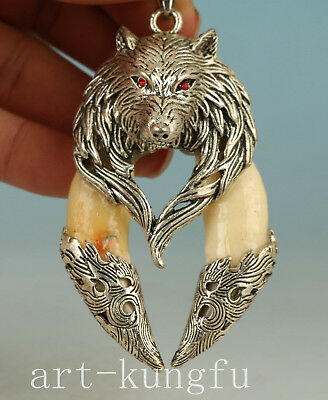 Tibet Silver inlay Tooth Handmade Carved Wolf Statue Pendant