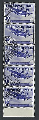 LIBERIA - #C9 - 10c AIRMAIL STRIP OF 5 WITH BOTTOM TAB (1938) MNH