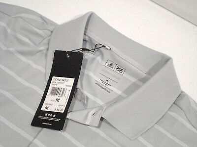 NEW Adidas Men's Puremotion Golf Polo Shirt Size Medium Striped Gray White Top M