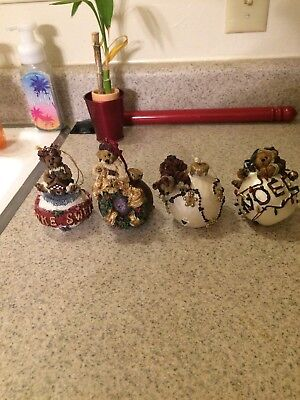 Boyds Bears & Friends Bearstone Christmas Ornament Limited Edition -lot of 4