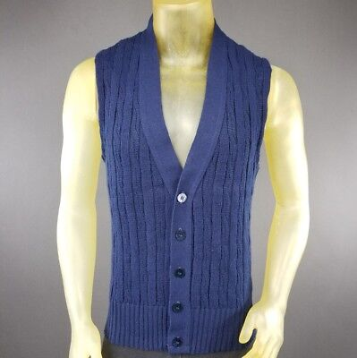 Vintage Large Blue Sweater Vest Rappers USA Made Acrylic Blend Solid Casual D4