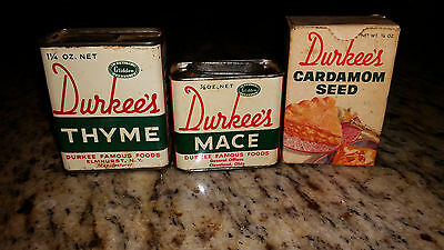 Lot of 3 Vintage Durkee's Spice Tins Box - Thyme, Mace, Cardamom Seed