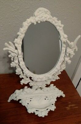 Vintage Shabby Chic Table Top Cast Iron Vanity Mirror