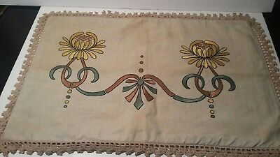 Antique Arts and Crafts Embroidered Linen Pillow Cover Case
