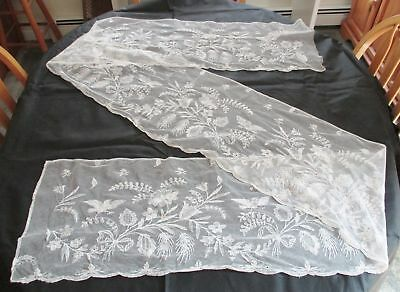 """ANTIQUE 3.1 yds EMBROIDERED NET LACE 12.5"""" wide Flowers,Birds,Scalloped Vintage"""