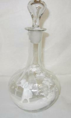 "Antique Victorian 10 1/4"" Clear Hand Painted Mary Gregory Decanter Excellent"