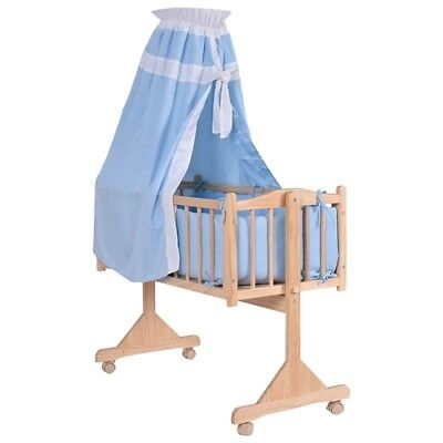 New Wooden Baby Cradle Newborn Bassinet With Blue Sleepy Cover