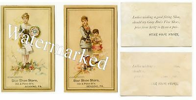 Star Shoe Store-Reading-Berks Co-Pa-Vict Trade Cards-Gray Bros Fine Shoes