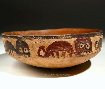 Rare NAZCA Pre Columbian Pottery Orange Bowl Red & Black Painted Panthers 500 AD