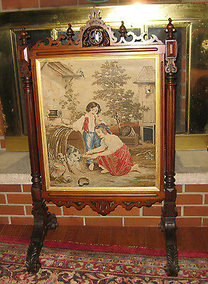19th cent. ORNATE CARVED  NEEDLEPOINT AND PADDY POINT FIREPLACE SCREEN