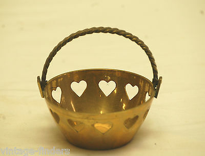 Vintage Brass Basket w Heart Shaped Pattern Design Country Mantel Decor ~ 3-1/2""