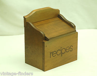 Vintage Style Wooden Recipe Box Card Holder Counter or Wall Mount Country Decor